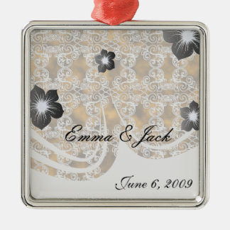 Satin Lace Effect Hint of Gold Damask Metal Ornament