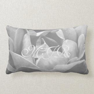 Satin-looking Rose In Black And White - Monogram Lumbar Pillow