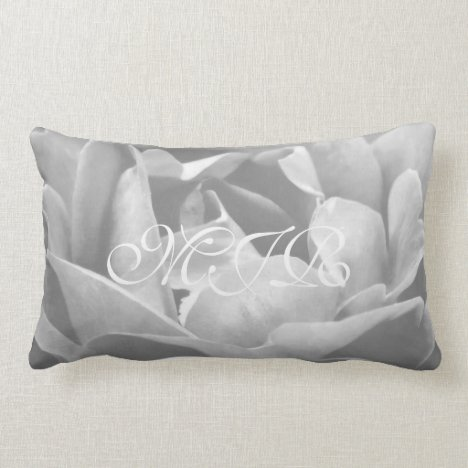 Satin-looking Rose In Black And White - Monogram Lumbar Pillow
