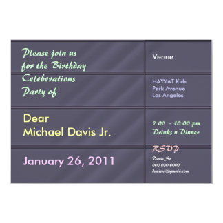 Satin Luxury Blue Grey with Sample Text 5x7 Paper Invitation Card