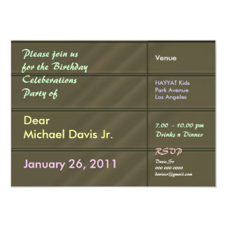 Satin Luxury Green with Sample Text 5x7 Paper Invitation Card