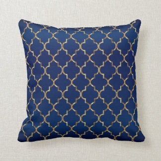 Satin Navy Blue & Gold Quatrefoil Pattern Throw Pillow