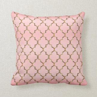 Satin Ombre Pink & Gold Quatrefoil Pattern Throw Pillow