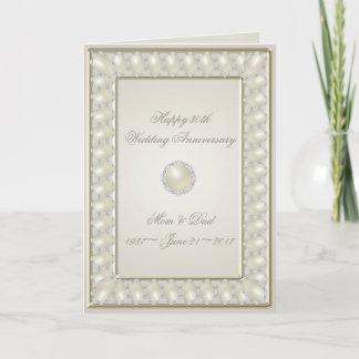 Satin Pearl 30th Wedding Anniversary Greeting Card