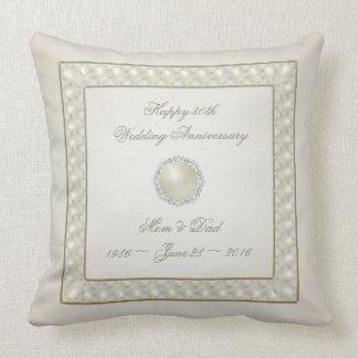 Satin Pearl 30th Wedding Anniversary Throw Pillow