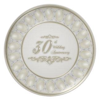 Satin Pearl Wedding Anniversary Melamine Plate