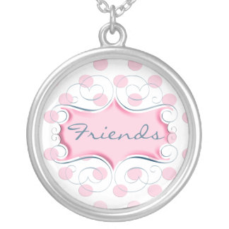 Satin Pink Frame Best Friends Round Pendant Necklace