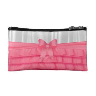 Satin Pink Ruffles & White Satin Make Up Cosmetic Bag