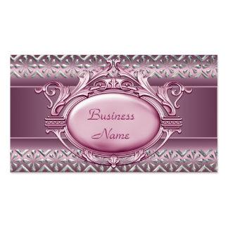 Satin Pink Silver Trim Elegant Business Card 2