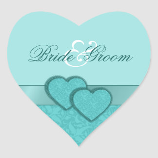Satin Ribbon and Damask Hearts Wedding Stickers