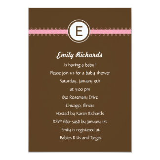 Satin Ribbon Baby Shower Invitation - in Pink