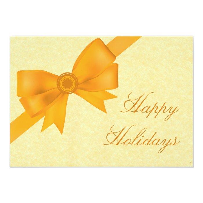 Satin Ribbon & Bow Holiday Party Invite, Yellow Card