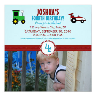Satin Ribbon Tractor Birthday Party Invite (red)