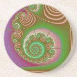 Satin Seashell Spiral Fractal Drink Coaster