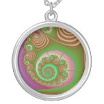 Satin Seashell Spiral Fractal Round Pendant Necklace