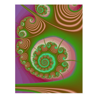 Satin Seashell Spiral Fractal Postcard