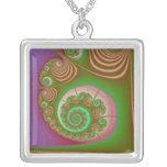 Satin Seashell Spiral Fractal Square Pendant Necklace