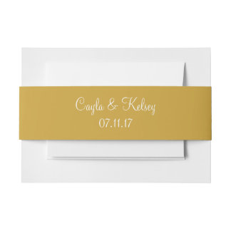 Satin Sheen Gold Fashionable Color Coordinating Invitation Belly Band