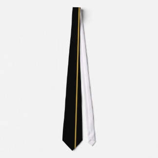 Satin Sheen Gold Thin Vertical Line on Black Tie