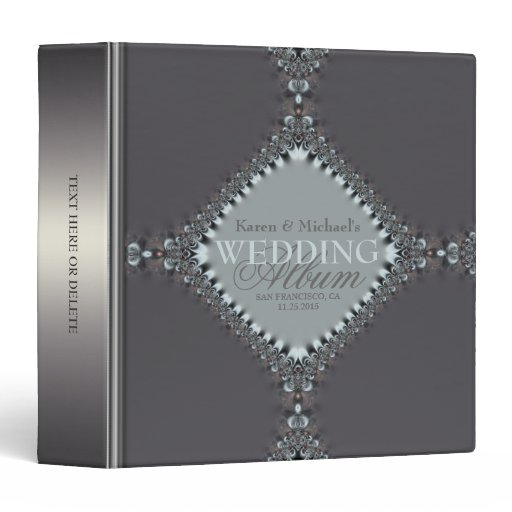 Satin Silver Blue Grey Wedding Album Binder