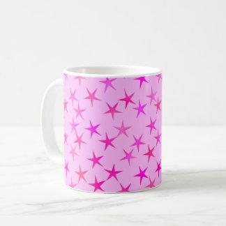 Satin stars, orchid on pale pink coffee mug