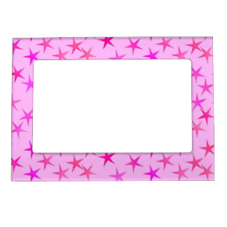 Satin stars, orchid on pale pink magnetic photo frame