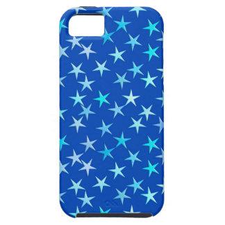 Satin stars, pale blue on cobalt iPhone 5 case