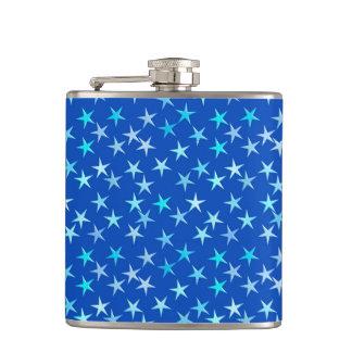 Satin stars, pale blue on cobalt flask