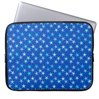 Satin stars, pale blue on cobalt computer sleeve