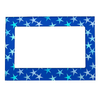 Satin stars, pale blue on cobalt magnetic picture frame