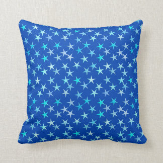 Satin stars, pale blue on cobalt throw pillow