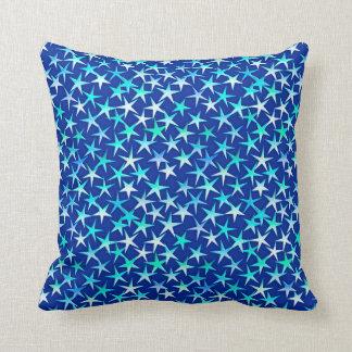 Satin stars, pale blue on cobalt throw pillows
