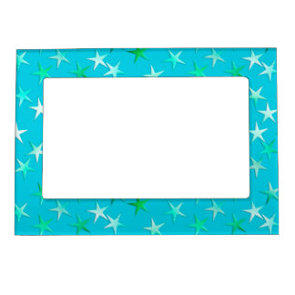 Satin stars, pale green and blue on turquoise magnetic picture frame