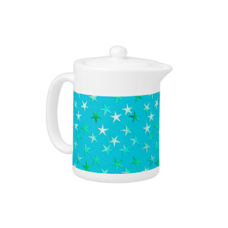 Satin stars, pale green and blue on turquoise teapot