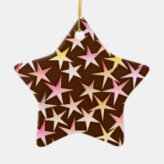 Satin stars, pink on chocolate ceramic ornament