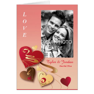 Satin Strawberry Candy Hearts Photo Valentine Card