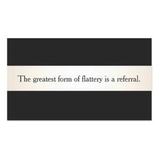Satin Stripe Black ProfessionalReferral Card Business Card