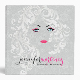 Satin White Lace Hair Stylist Beauty Face 3 Ring Binder