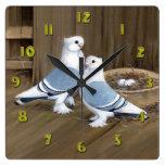 Satinette Frill Pigeons Clock