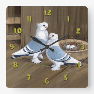 Satinette Frill Pigeons Clock