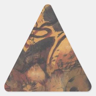 Sátira al jinete azul en agosto Macke Pegatina Triangular