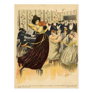 Sátira de una tarde musical del salón tarjeta postal