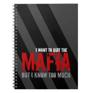 Sátira del chiste de la mafia y de la parodia de libro de apuntes con espiral