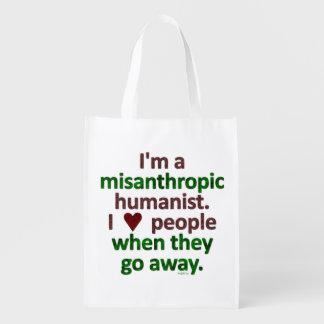 Sátira misantrópica del solitario del humanista bolsas reutilizables
