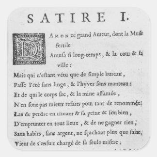 'Satires' by Nicolas Boileau Square Sticker