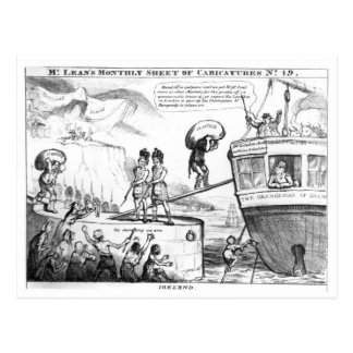 Satirical Cartoon About the State of Ireland Postcard