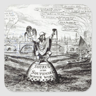 Satirical Cartoon about the Water Company Square Sticker