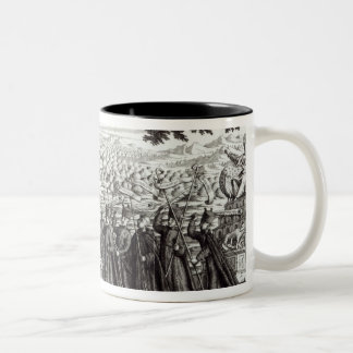 Satirical engraving depicting the Bull Two-Tone Coffee Mug