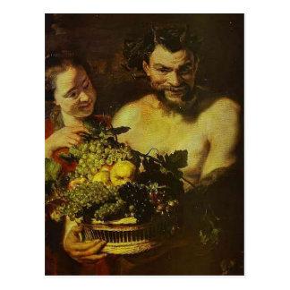 Sátiro, chica con la cesta de fruta de Jacob Jorda Postales