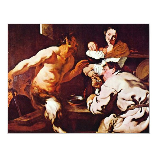 Sátiro con los campesinos de Liss Juan (la mejor Invitación 10,8 X 13,9 Cm
